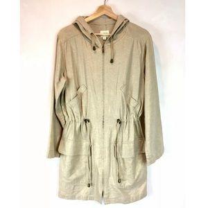 J Jill natural /gold metallic linen utility jacket